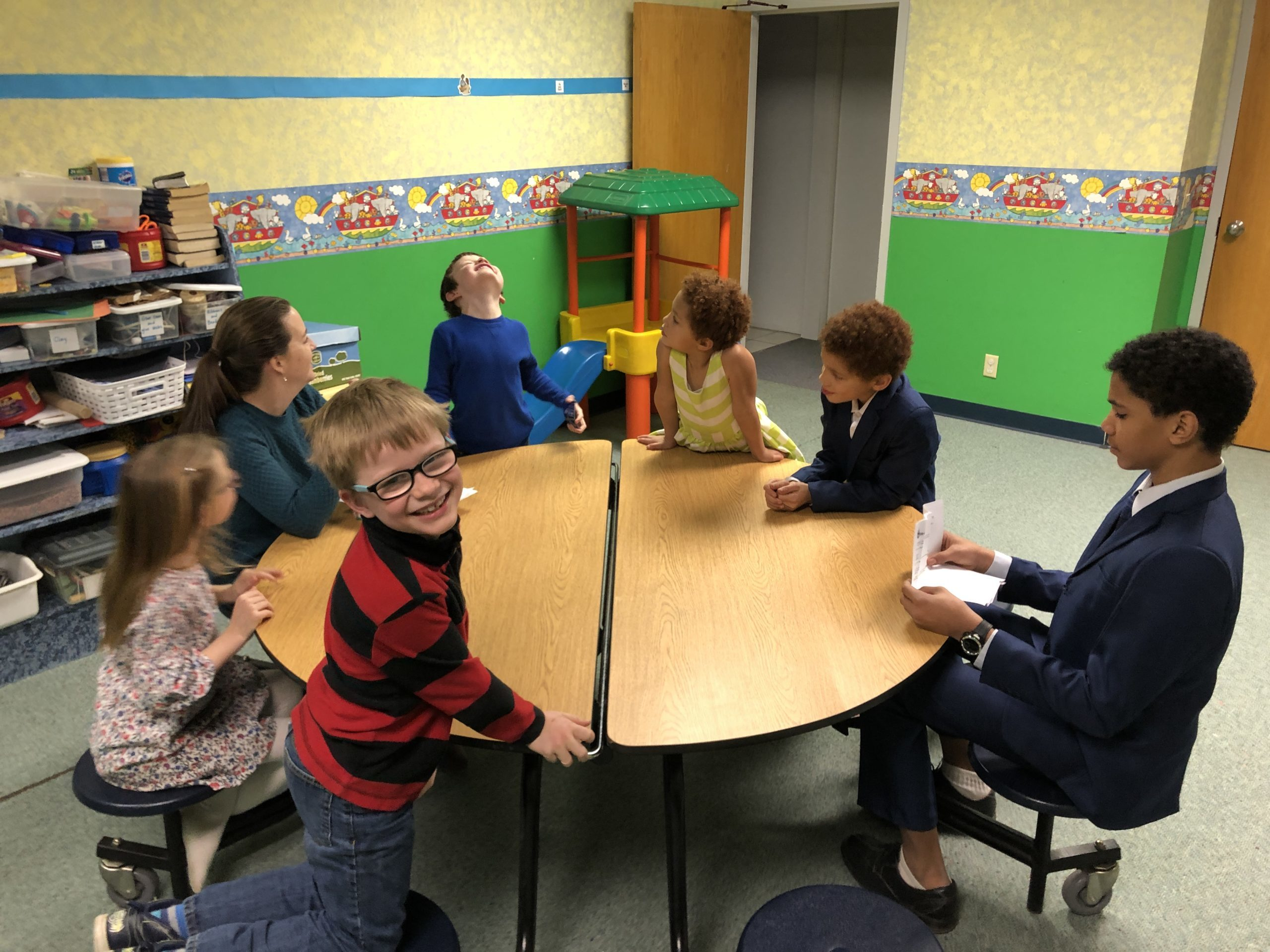 Kids in Sunday School class at church in Muscatine, IA